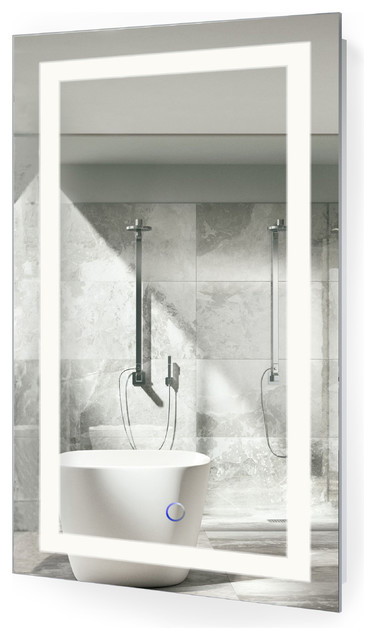 led lighted 18x30 bathroom mirror wall mount with defogger