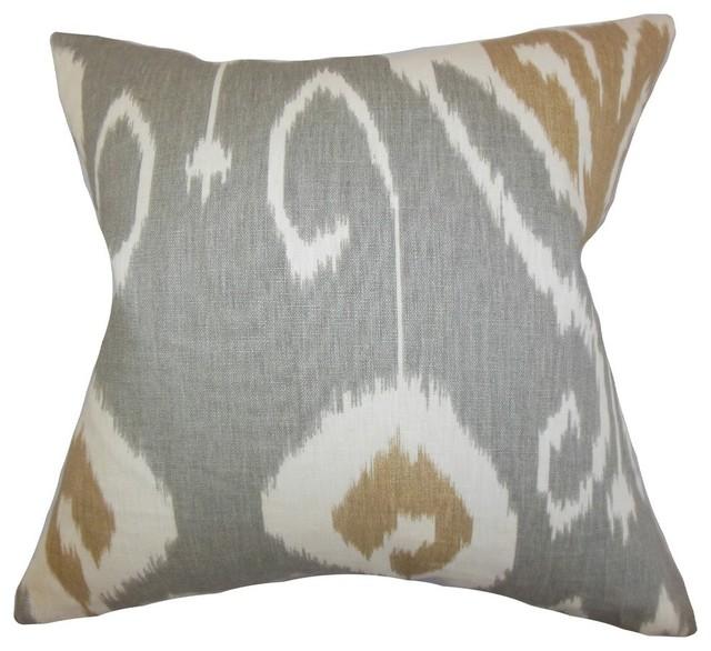 """Cleon Ikat Pillow, Gray 20""""x20""""."""