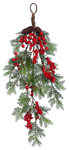 Silk Plants Direct Red Berry, Cedar And Cone Teardrop, Pack Of 6.