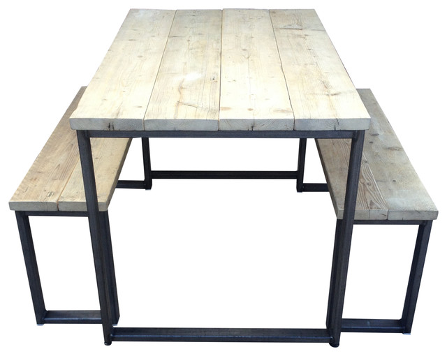 3-Piece Reclaimed Wood Dining Table Set, Unpainted Steel, Small