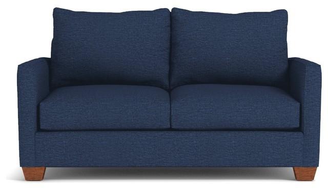 Tuxedo Apartment Size Sleeper Sofa, Innerspring Mattress, Blue Jean