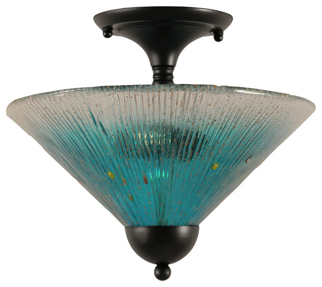 Semi-Flush With 2 Bulbs In Matte Black, 12 Teal Crystal Glass.
