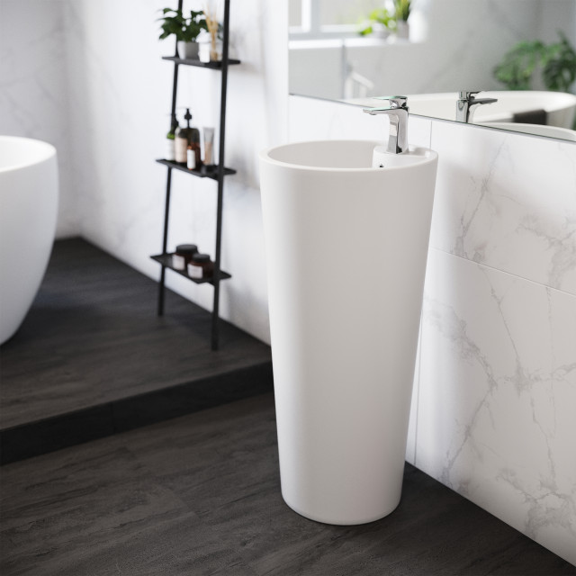 Monaco Circular Basin Pedestal Sink Contemporary Bathroom Sinks By Swiss Madison