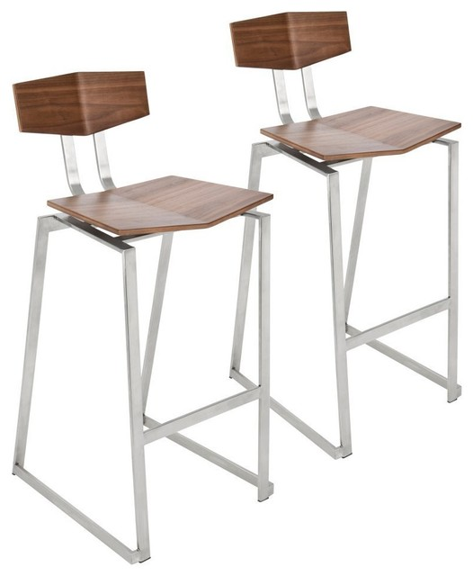 Flight Contemporary Stainless Steel Counter Stools, Walnut Wood, Set of 2