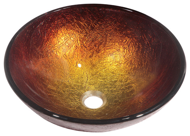 Dawn Tempered Glass, Hand-Painted Glass Vessel Sink-Round Shape, Gold And Brown.