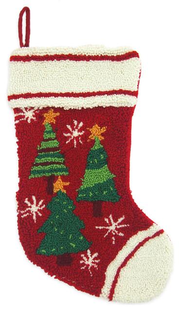 Hooked christmas tree stocking modern
