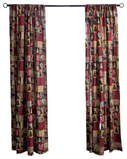 Cabin In The Woods Cotton Printed Lined Drape Set.