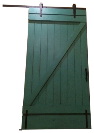 Sliding Vintage Inspired Barn Door Teal Transitional Interior