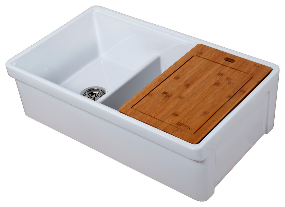 Tosca Reversible Farmhouse 60 40 Double Sink Cutting Board Grid Strainer 33 Contemporary Kitchen Sinks By Empire Industries Inc