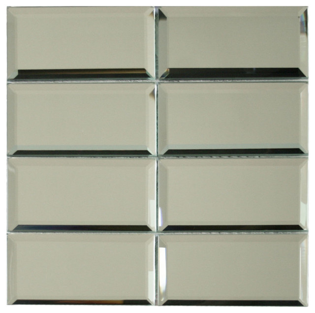 Beveled Mirror Glass Subway Tile Contemporary Wall And Floor