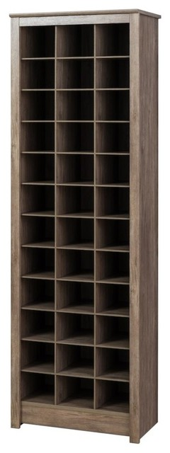 Space-Saving Shoe Storage Cabinet, Drifted Gray.