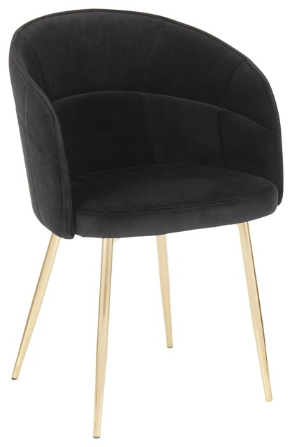 Lindsey Contemporary Chair by LumiSource, Gold Metal, Black Velvet