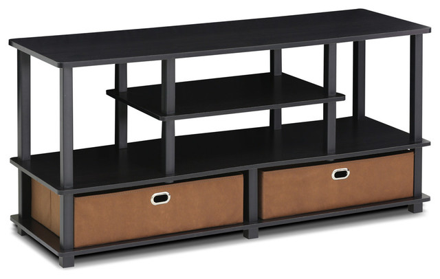 Furinno Jaya Large Tv Stand For Up To 50-Inch Tv With Storage Bin, 15119exbkbr.