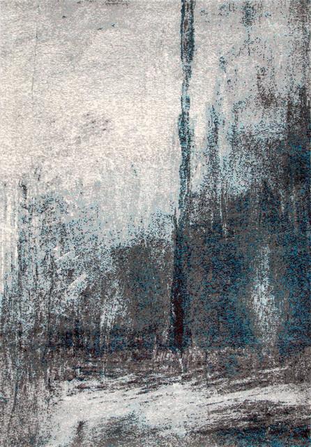 Contemporary Abstract Midnight Fog Rug, Gray, 9&x27;x12&x27;.