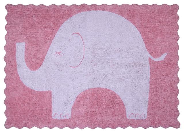 Baby Elephant Children&x27;s Rug, Pink.