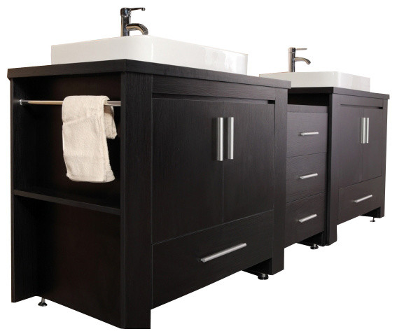"Design Element Dec083-E Washington 92"" Double Sink Vanity Set, Espresso."