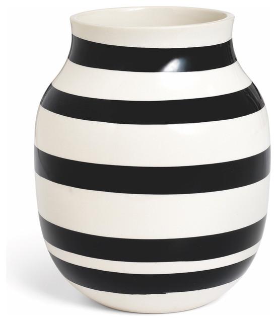 Kahler Omaggio Medium Ceramic Vase, Handmade Faience, White/Black