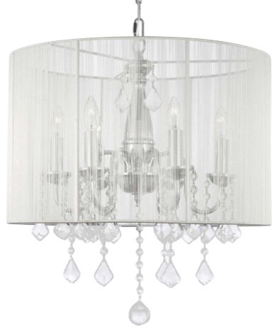 Chandeliers That Plug In: Swag Chandelier With Shade traditional-chandeliers,Lighting