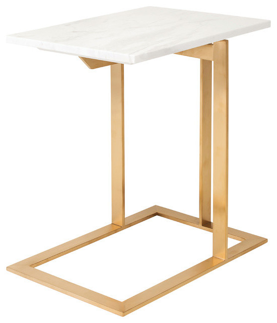 Dell Marble Top Side Table By Nuevo Living Brushed Gold Stainless Steel