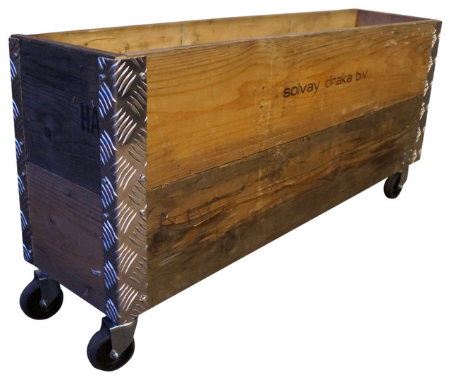 Upcycled Pallet Long Wheeled Box, 2 Layers