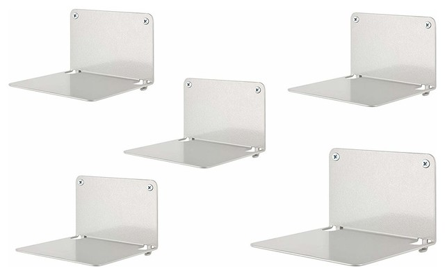 Set of 5 Book Shelves, Solid Metal, Invisible Design Perfect for Space Saving