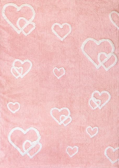 Hearts Children&x27;s Rug, Pink.