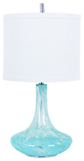 Pasha Light Blue Glass Table Lamp 32Tall 16Diameter White Linen