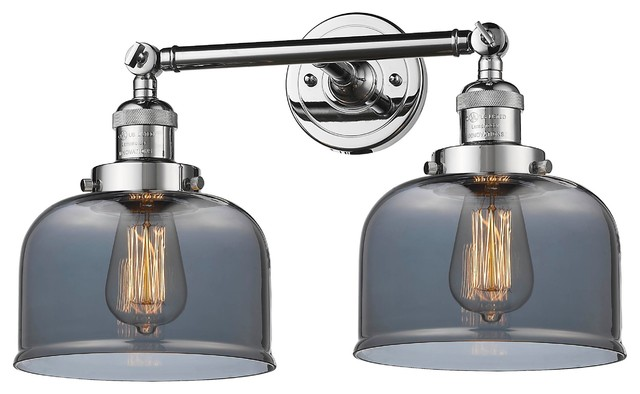 Large Bell 2 Light Bathroom Vanity Light Polished Chrome