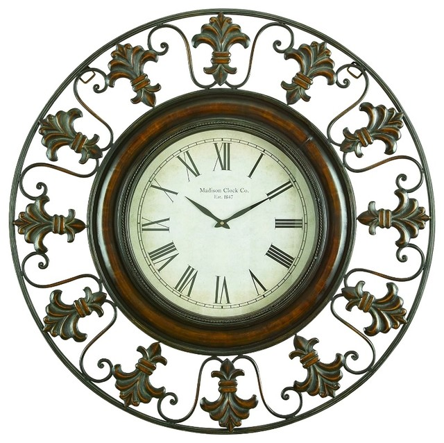 Metal Wall Clock metal wall clock with round flower themed border - mediterranean