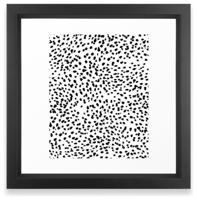 Nadia - Black And White, Animal Print, Dalmatian Spot, Spots, Dots, Bw Framed Ar contemporary-prints-and-posters