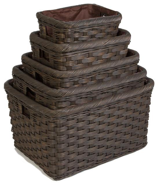 Jumbo Wicker Storage Basket, Antique Walnut Brown, Extra Large Baskets