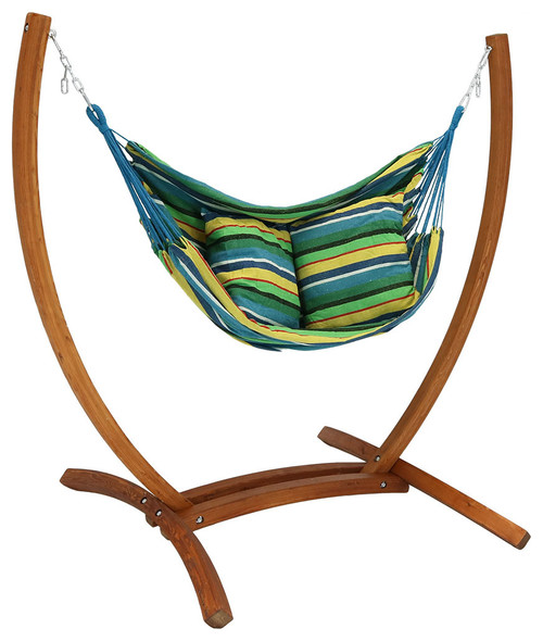 Sunnydaze Hanging Hammock Chair Swing With Wooden Stand, Ocean Breeze