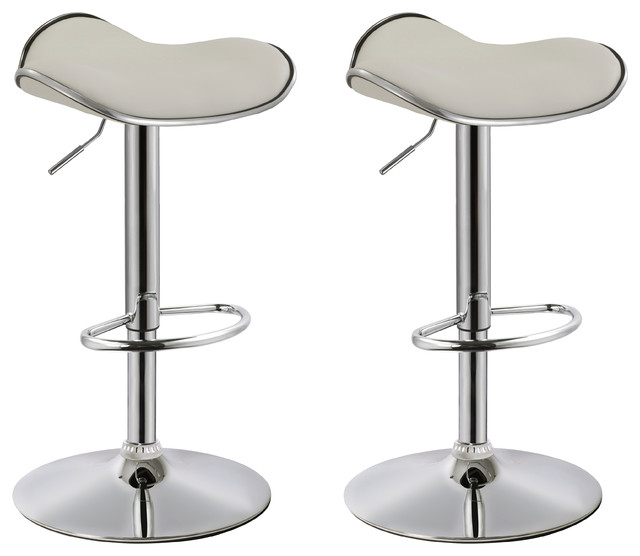 Dylan Backless Faux Leather Adjustable Bar Stools, White, Set Of 2