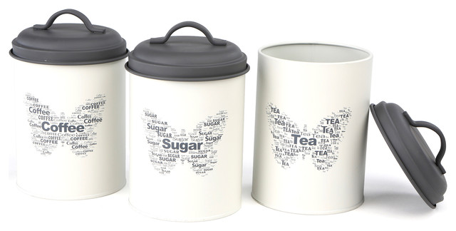 3 Piece Sugar, Tea, Coffee Metal Canister Set, White.