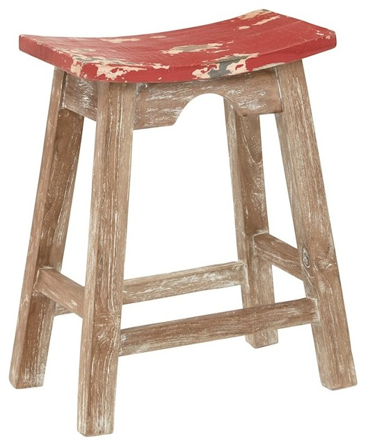Osp Designs 24 Quot Saddle Stool White Wash Rustic Brown