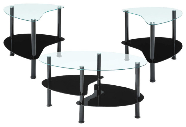 innovex crescent coffee table set, black - contemporary - coffee