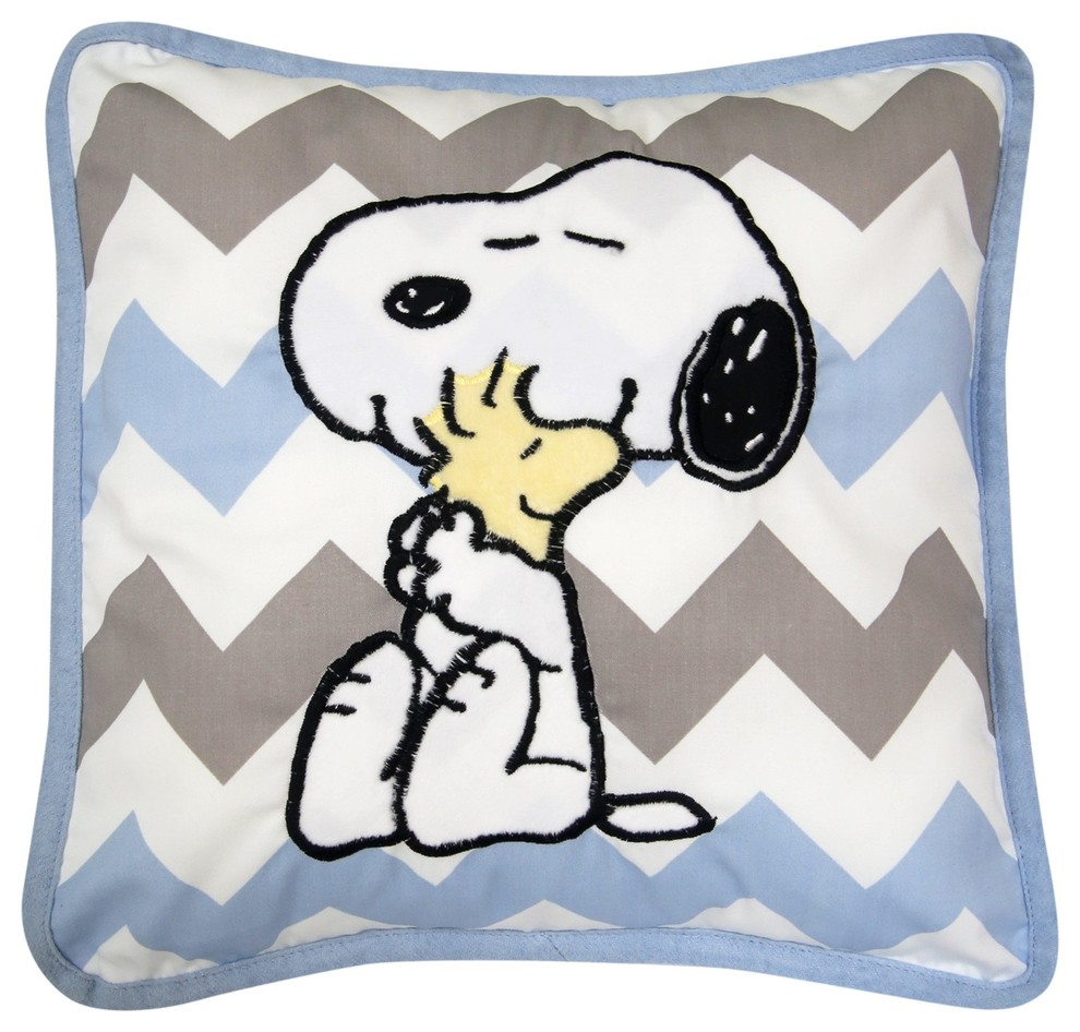 Lambs Ivy My Little Snoopy Decorative Pillow Blue Gray White Snoopy Contemporary Decorative Pillows By Lambs Ivy