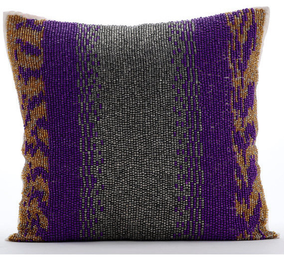 "Purple Beaded 18""x18"" Silk Decorative Pillows Covers For Couch, Metal Berry."