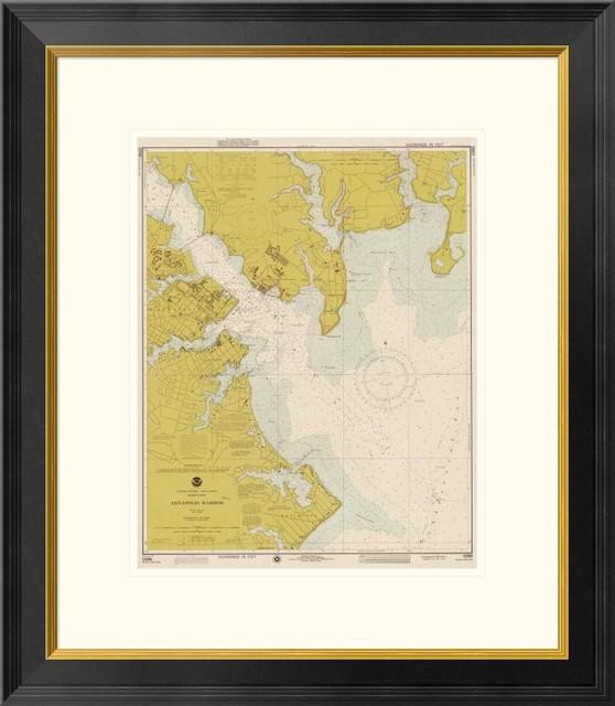 "Nautical Chart, Annapolis Harbor 1975, Sepia Tinted, 23""x1.5""x26""."