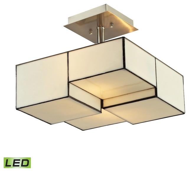 Cubist 2-Light Led Semi Flush, Brushed Nickel.