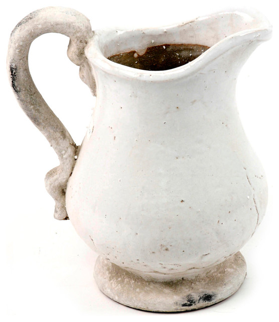 French Country Stoneware Pitcher Small Traditional Vases By