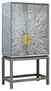 Worlds Away, Luna Gray Cerused Oak Bar Cabinet With Radial Pattern