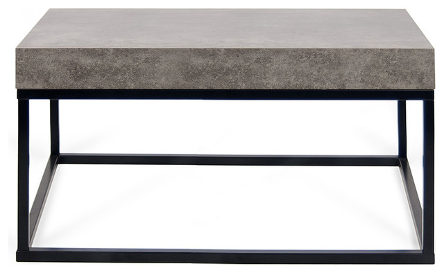 "Petra 30""x30"" Coffee Table 145042-Petra30, Faux Concrete Top/black Legs."
