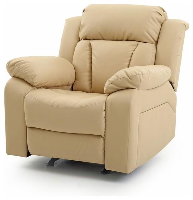 Glory Furniture - Springfield Rocker Recliner, Beige Faux ...