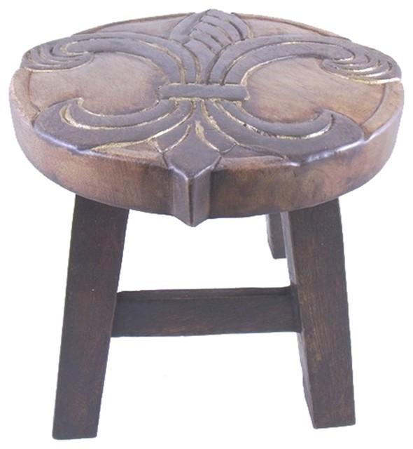 Sensational Elegant Fleur De Lis Hand Carved Wood Step Stool Theyellowbook Wood Chair Design Ideas Theyellowbookinfo