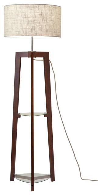 Henderson Shelf Floor Lamp - Walnut.