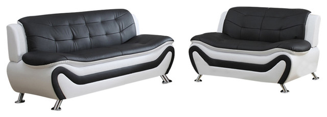 Emory 2-Piece Sofa And Love Seat Set, White And Black.