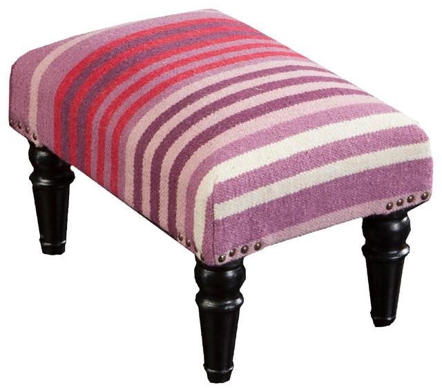 Fl-1006 Surya Furniture Foot Stool, Eggplant, Salmon, Eggplant, Cherry, Ivory