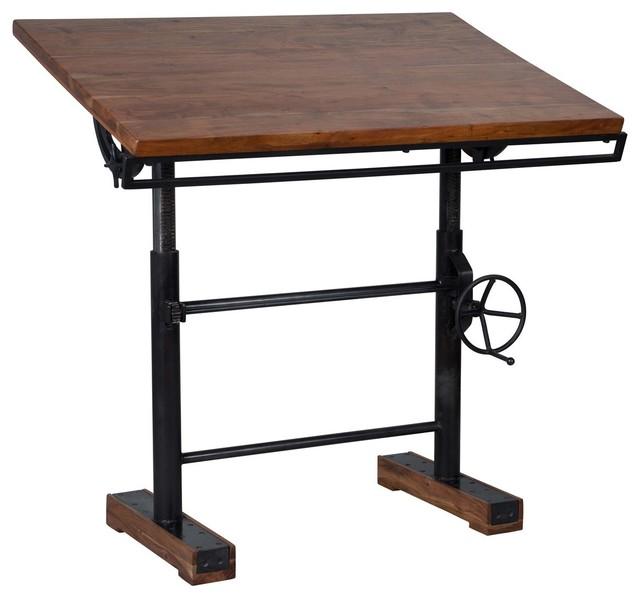 Steampunk Industrial Crank Adjustable Standing Desk Industrial - Drafting table standing desk