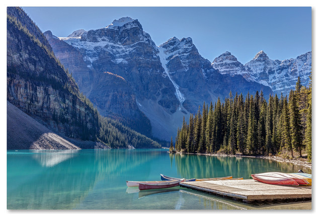Pierre Leclerc Moraine Lake Canoes Canvas Art Rustic Prints And Posters By Trademark Global